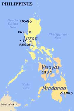 Map of the Philipines showing International Airports